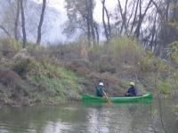 Annäherung des Ortes der Baumfällung mit Kanu